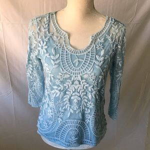 Adiva light blue lace overlay top with 3/4 sleeves